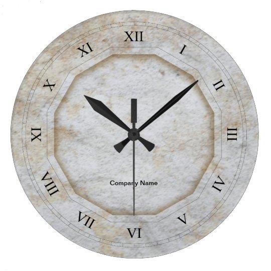 grande horloge ronde texture en pierre avec les chiffres. Black Bedroom Furniture Sets. Home Design Ideas