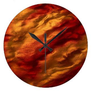 Grande Horloge Ronde Texture rouge et orange abstraite
