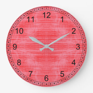 Grande Horloge Ronde Texture rouge lumineuse