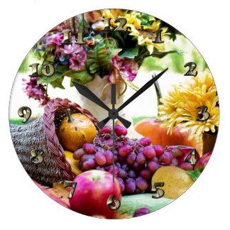 Grande Horloge Ronde Thanksgiving Cronucopia avec des fruits et des