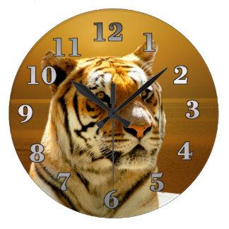 Grande Horloge Ronde Tigre d'or