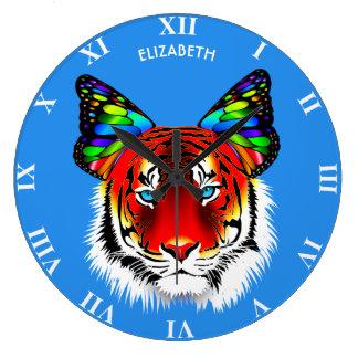 Grande Horloge Ronde Tigre rouge psychédélique avec le cool d'oreilles