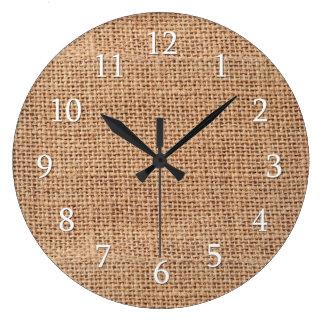 Grande Horloge Ronde Toile de jute rustique de ferme de pays