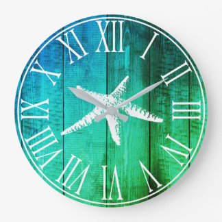 Grande Horloge Ronde Tonalités en bois d'océan de Faux nautique et