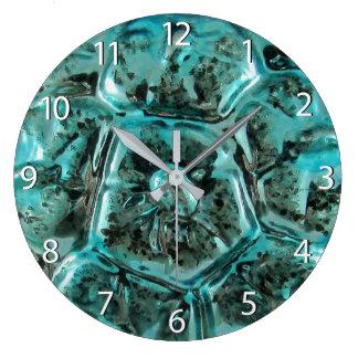 Grande Horloge Ronde Tortue bleue turquoise en verre de bijou de