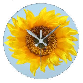 Grande Horloge Ronde tournesol jaune