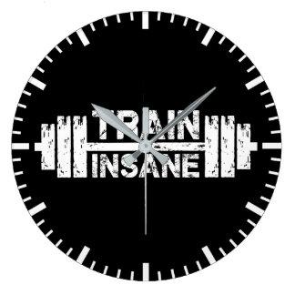 Grande Horloge Ronde Train aliéné - haltère, gymnase, séance