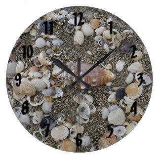 Grande Horloge Ronde Trésor de coquillage de conque