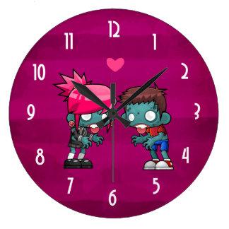 Grande Horloge Ronde Une paire de zombis dans l'amour
