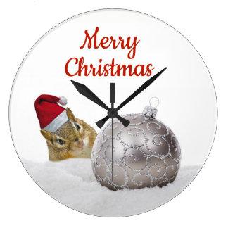 Grande Horloge Ronde Vacances mignonnes d'argent de tamia et de Noël de