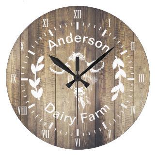 Grande Horloge Ronde Vache rustique et nom de famille à exploitation