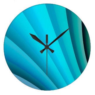 Grande Horloge Ronde Vague bleu-clair d'art abstrait