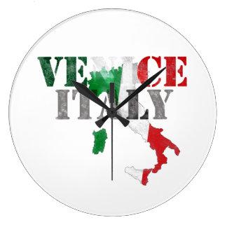 Grande Horloge Ronde Venise Venezia Italie. Art d'aquarelle, affligé