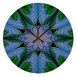 Grande Horloge Ronde Vert abstrait et bleu de conception