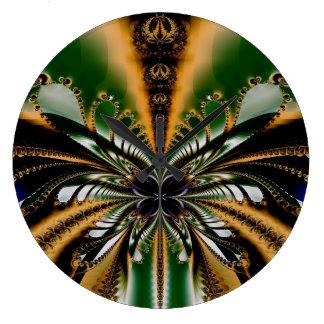 Grande Horloge Ronde Vert d'art abstrait et motif de Brown