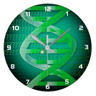 Grande Horloge Ronde Vert d'identification d'ADN