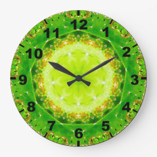 Grande Horloge Ronde ~ vert ~Pretty de cactus de Succelent