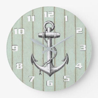 Grande Horloge Ronde Vieille ancre vintage nautique rustique en bois