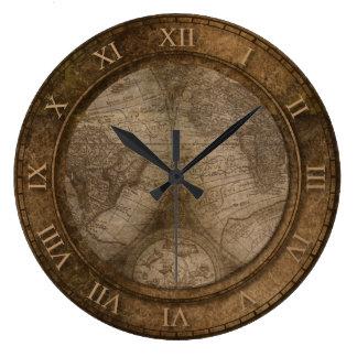 Grande Horloge Ronde Vieille conception vintage de carte