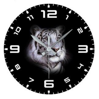 Grande Horloge Ronde Visage blanc de tigre