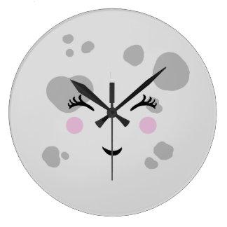 Grande Horloge Ronde Visage de lune de sourire mignon superbe