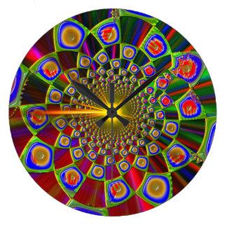 Grande Horloge Ronde Voyage dans l'optique 3D psychédélique
