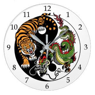 Grande Horloge Ronde yang de yin de dragon et de tigre