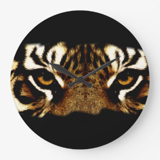 Grande Horloge Ronde Yeux d'un tigre