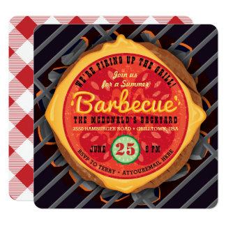 Grande invitation de barbecue d'hamburger