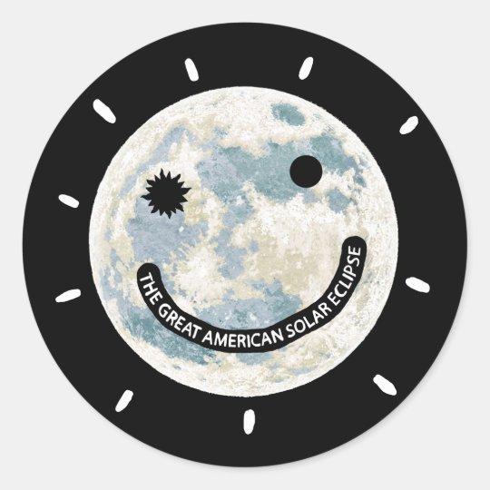 Grande lune américaine Emoji d'éclipse solaire Sticker Rond