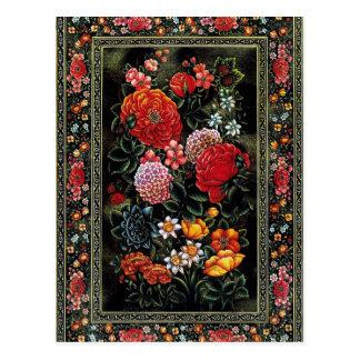 Grande miniature florale de coloré de l'art persan cartes postales