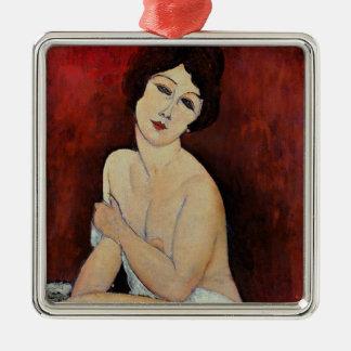 Grande nudité posée (huile sur la toile) ornement carré argenté
