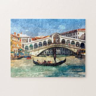Grande peinture d'aquarelle de canal coloré de puzzle
