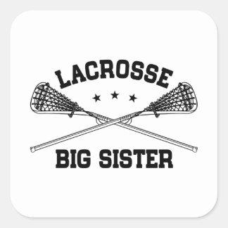 Grande soeur de lacrosse sticker carré