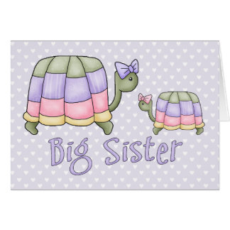Grande soeur de tortues en pastel cartes de vœux