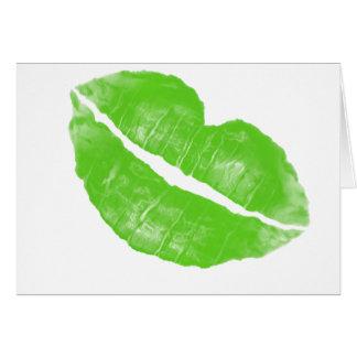 Grande tache irlandaise verte de rouge à lèvres carte de vœux