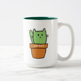 Grande tasse à deux tons de cactus - citrouille
