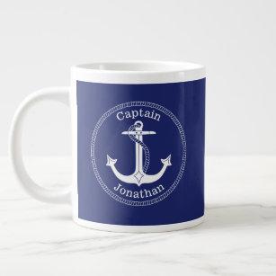 Grande Tasse Ancre nautique Capitaine Nom monogramme Bleu