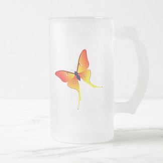 Grande tasse en verre givré de papillon orange de