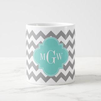 Grande Tasse Monogramme blanc gris de Quatrefoil 3 d'Aqua de