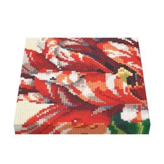 Grande toile de point de tulipe rayée de perroquet