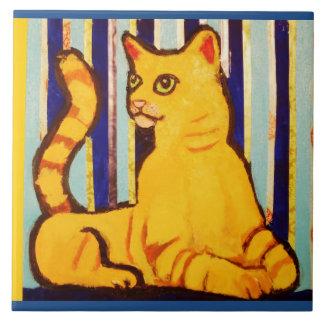 Grande tuile en céramique de photo avec le chat grand carreau carré