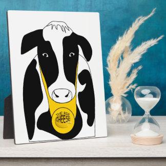 Grande vache drôle 8x10 à patron de fromage impressions sur plaque