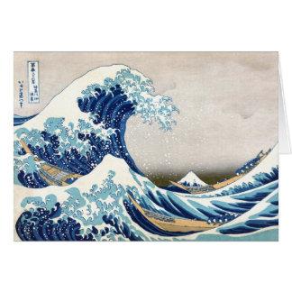 grande vague de 北斎 outre des beaux-arts de cartes
