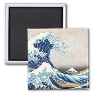 grande vague de 北斎 outre des beaux-arts de magnet carré