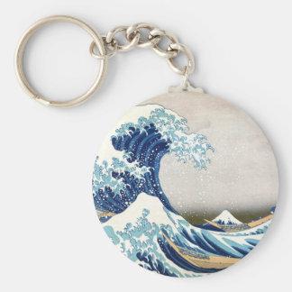 grande vague de 北斎 outre des beaux-arts de porte-clés