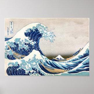 grande vague de 北斎 outre des beaux-arts de poster