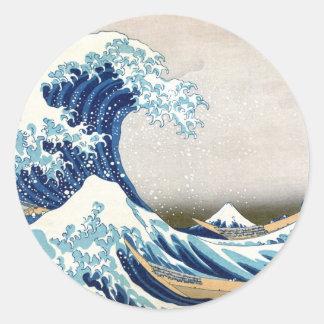 grande vague de 北斎 outre des beaux-arts de sticker rond