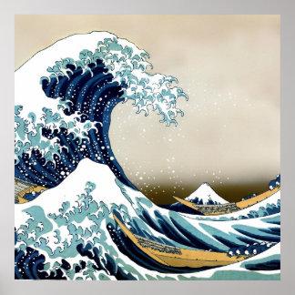 Grande vague de haute qualité outre de Kanagawa Poster