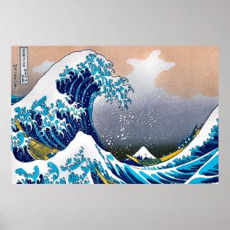 Grande vague de la tapisserie HD vectorisé de mur Poster